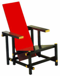 Chairs on Gerrit Rietveld S De Stijl Painted Red Blue Chair