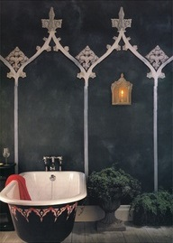 Wm Morris bathroom, Gothic Revival painted arches on wall & gothic frestanding bathtub