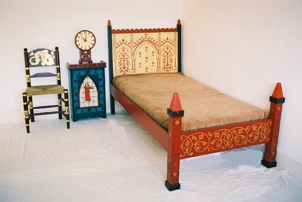 william burges style reformed gothic revival gothic painted bed bedroom furniture. Black Bedroom Furniture Sets. Home Design Ideas