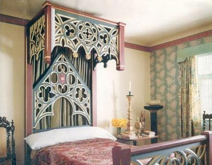 Gothic Revival Painted Wooden Beds Bedroom Furniture
