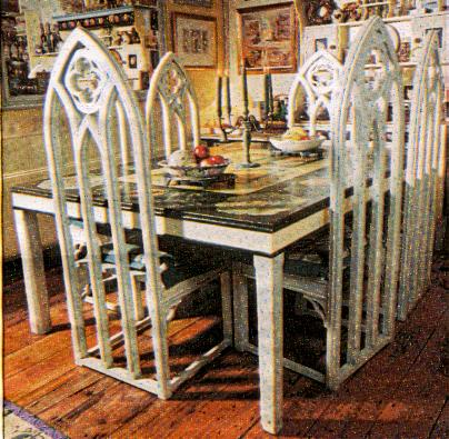 Table Chairs Gothic Painted Carved Dining Furniture