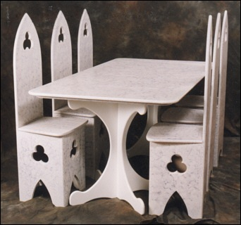 White Carved Chairs, Gothic White Painted Dining Table U0026 Chairs