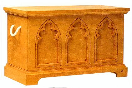 Gothic Wooden Pine Chest Blanket Box Coffer Furniture