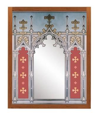 New Gothic Revival style painted & gilded triple tryptych mirror frame