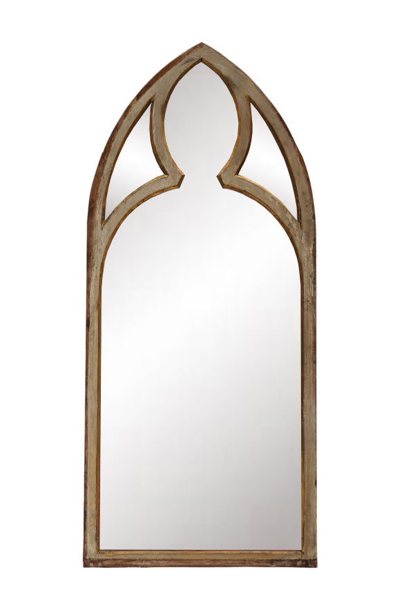 New Gothic Church Window Style Antiqued Painted Mirror Frame