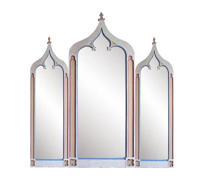 New Gothic Church Window Tryptych Style Antiqued Painted Mirror Frame