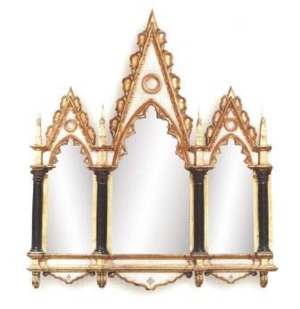 new pointed gothic 3 5 panel mirror frame in painted gold finish