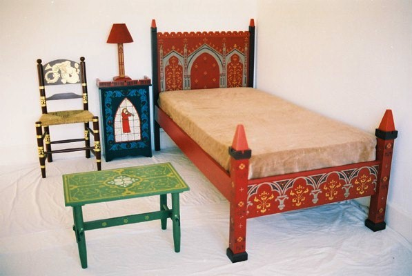 79de3983331 Wm Burges painted stencilled gilded Reformed Gothic Revival bed and bedroom  furniture ...