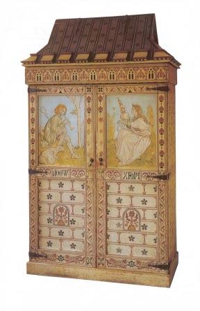 William Burges Reformed Gothic Revival Style Flax Wool Cabinet Painted Bedroom Wardrobes