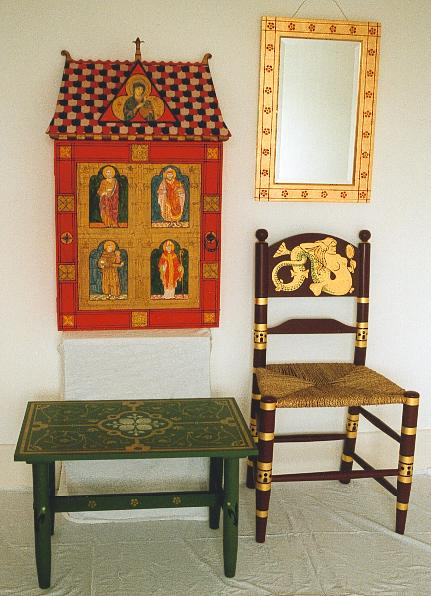 Several pieces of William Burges painted stencilled gilded Gothic furniture