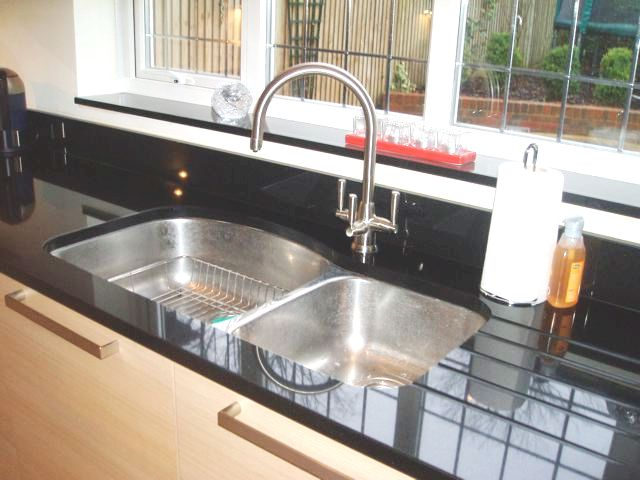 Sill Granite Sink : ... stainless steel double sink & black granite worktop & window sill
