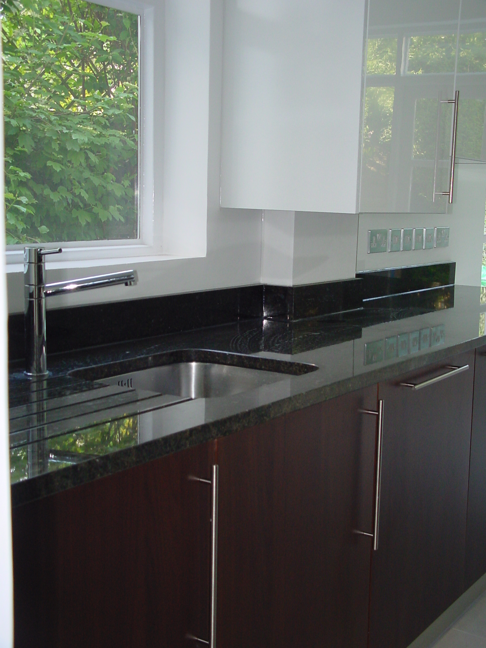 Designer Fitted Contemporary Kitchen In Walnut Amp Gloss White