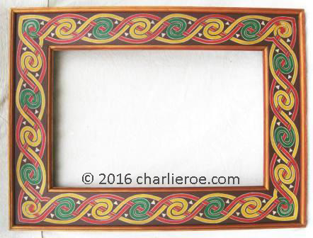 New \'Book of Kells Celtic Revival style painted knotwork mirror frame