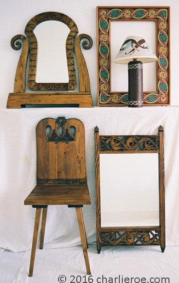 viking revival furniture and celtic mirror frame