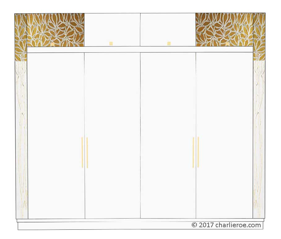 new Vienna Secession Art Nouveau Jugendstil painted bedroom 4 door double wardrobe