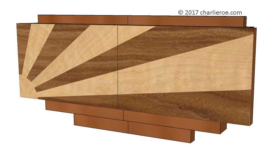 New Art Deco Pair Of Marquetry Veneer Furniture Handles