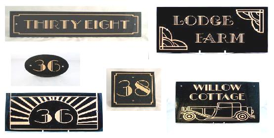 New Art Deco House Numbers Name Signs