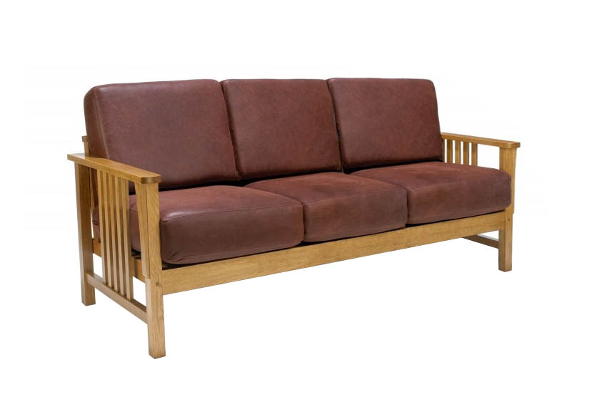 New Arts Crafts Movement Frank Lloyd Wright Mission Prairie Style Oak 3 Seater Sofa With