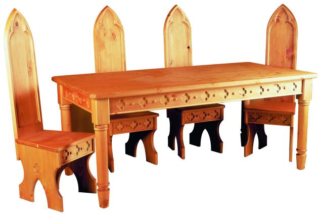 Carved Wood Painted Pine Dining Tables